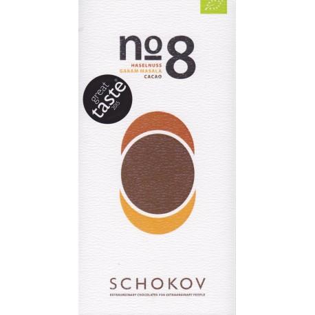 """Schokov No. 8 """"Haselnuss & Garam Masala"""" 70%"""